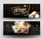 Birthday greeting card  with air balloons, serpentine, gold frame, serpentine and fireworks. Royalty Free Stock Image