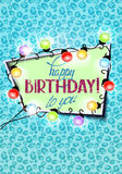Birthday greeting card  with animal printed background , garland of lights and frame. Vector illustration Royalty Free Stock Photo