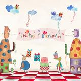 Birthday greeting card. Artistic work. Watercolors on paper Royalty Free Stock Image