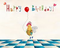 Birthday greeting card. Artistic work. Watercolors on paper Stock Photos