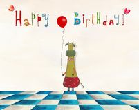 Birthday greeting card. Artistic work. Watercolors on paper Royalty Free Stock Photography