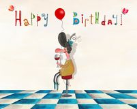 Birthday greeting card. Artistic work. Watercolors on paper Royalty Free Stock Photos