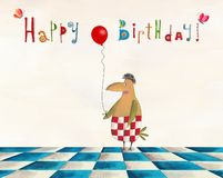 Birthday greeting card. Artistic work. Watercolors on paper Stock Images
