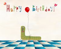Birthday greeting card. Artistic work. Watercolors on paper Royalty Free Stock Photo