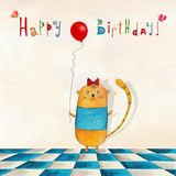Birthday greeting card. Artistic work. Watercolors on paper Stock Photo
