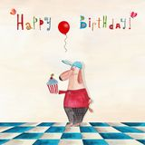 Birthday greeting card. Artistic work. Watercolors on paper Stock Photography