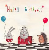 Birthday greeting card. Artistic work.  Watercolors on paper Stock Image