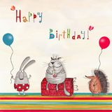 Birthday greeting card. Artistic work.  Watercolors on paper Royalty Free Stock Images