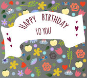 Birthday greeting card. Background of assorted different festive elements vector. Stock Image