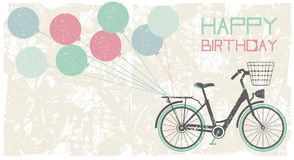 Birthday greeting card background. With bicycle and balloons Stock Image