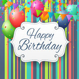 Birthday greeting card with balloons and flags. On striped paper background Royalty Free Stock Images