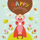 Birthday greeting card with beautiful lady Stock Photo