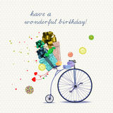 Birthday greeting card with bicycle and gifts in cartoon style on light background. Vector illustration. Card with retro bicycle in vintage style. Vector stock illustration