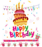 Birthday greeting card with cake Royalty Free Stock Photography