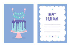 Birthday greeting card with cake. Vector