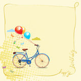 Birthday greeting card in cartoon style with bicycle and balloons. Vector illustration. Stock Image