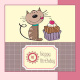 Birthday greeting card with cat stock illustration