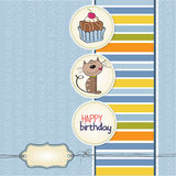 Birthday greeting card with cat Royalty Free Stock Images