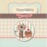 Birthday greeting card with a cat vector illustration
