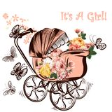 Birthday greeting card with childish pram and butterflies it is Royalty Free Stock Photos
