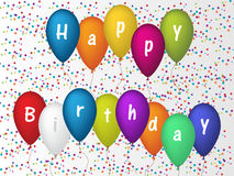 Birthday greeting card with confetti and ballons Royalty Free Stock Images