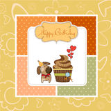 Birthday greeting card with cupcake Stock Image