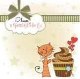 Birthday greeting card with cupcake Stock Photo