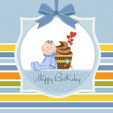 Birthday greeting card with cupcake Royalty Free Stock Images