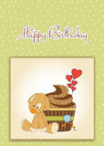 Birthday greeting card with cupcake Stock Images