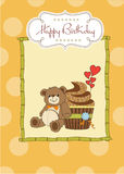 Birthday greeting card with cupcake Stock Photo