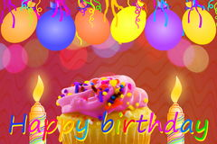 Birthday greeting card with cupcake balloon strip and candles Stock Photo