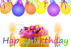 Birthday greeting card with cupcake balloon strip and candles Stock Photos