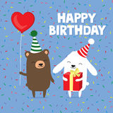 Birthday greeting card with cute cartoon bear and bunny rabbit holding balloon and gift Stock Photo