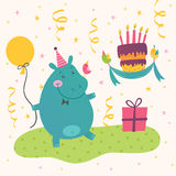 Birthday greeting card with cute hippo vector illustration