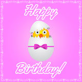 Birthday greeting card with cute little chicken Stock Images