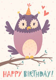 Birthday greeting card with cute owl. Vector birthday greeting card with cute owl on the branch Stock Photo