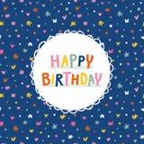 Birthday greeting card on deep blue seamless pattern. Birthday greeting card on blue seamless pattern Royalty Free Stock Photo