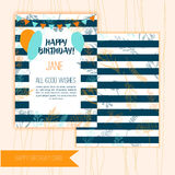 Birthday greeting card design with floral elements on wooden background with festive flags and balloons. Stock Photos