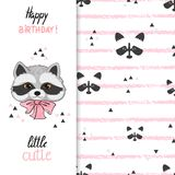 Birthday greeting card design for kids with cute little raccoon. Birthday greeting card design for kids. Vector illustration of cute little raccoon vector illustration