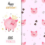 Birthday greeting card design for little girl with cute pig Stock Photo