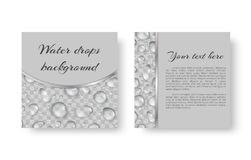 Postcard with droplets. Birthday greeting card design with sparkling dew drops for festive decoration Stock Photos