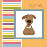 Birthday greeting card with dog Royalty Free Stock Images
