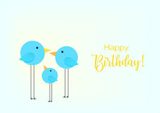 Birthday greeting card. Drawing with the family of birds for baby frame. Stock Photos