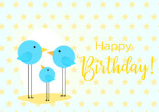 Birthday greeting card. Drawing with the family of birds for baby frame. Stock Image