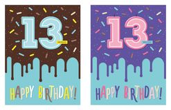 Birthday greeting card with cake and 13 candle