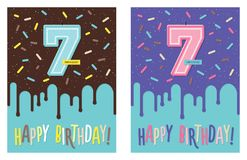 Birthday card with number 7 celebration candle royalty free illustration