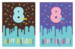 Birthday card with number 8 celebration candle. Birthday greeting card with dripping glaze on decorated cake and number 8 celebration candle Royalty Free Stock Photo