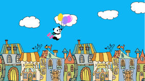 Birthday Greeting card with flying panda on balloons stock footage