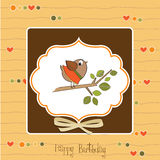 Birthday greeting card with funny little bird Stock Photography