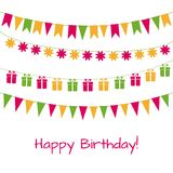 Birthday greeting card with garlands. Happy birthday vector greeting card with garlands Stock Photo